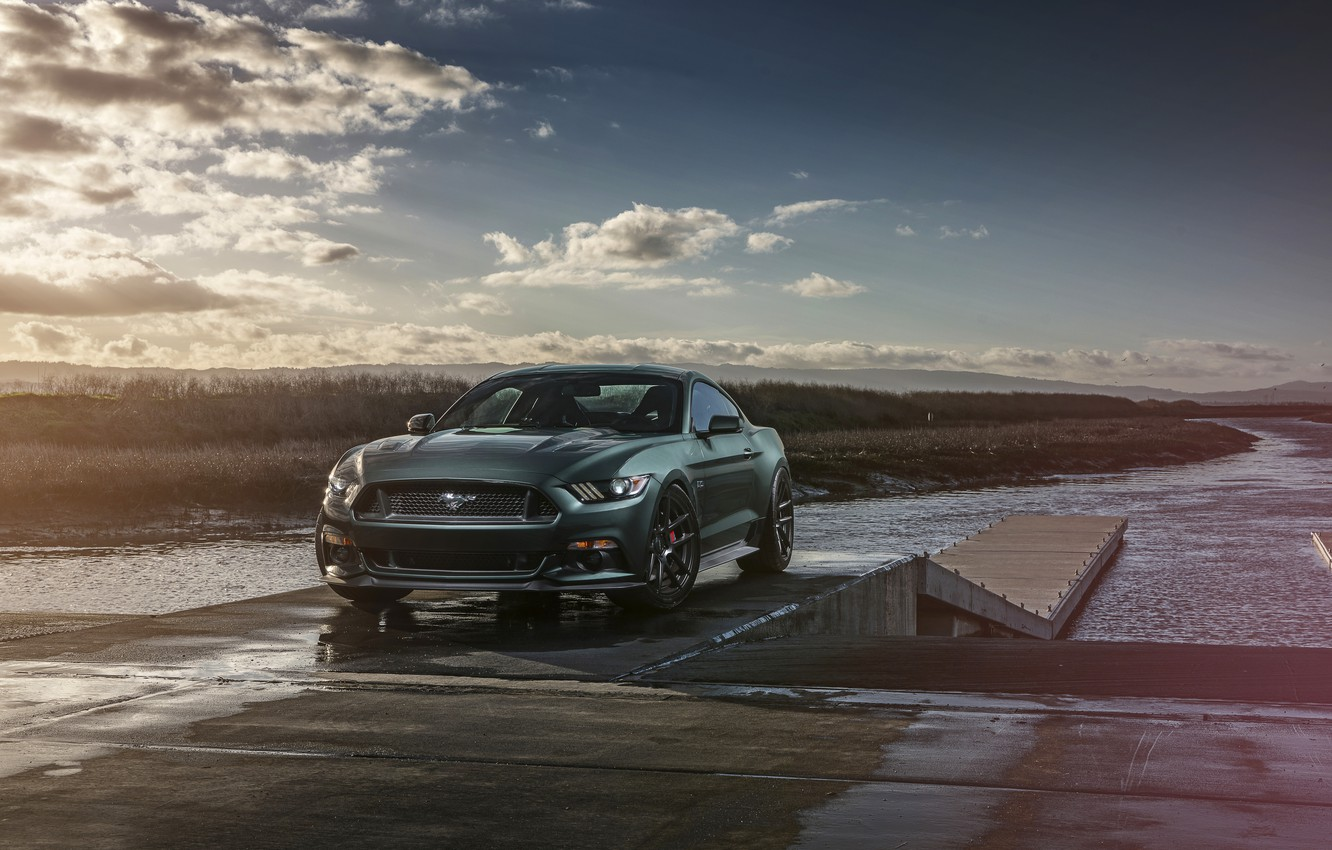 Фото обои Mustang, Ford, Muscle, Car, Front, Sunset, Wheels, 2015, Velgen