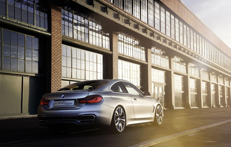 Фото обои Concept, BMW, Бумер, Концепт, Свет, Серебро, Здание, Блик, Coupe, 4 Series