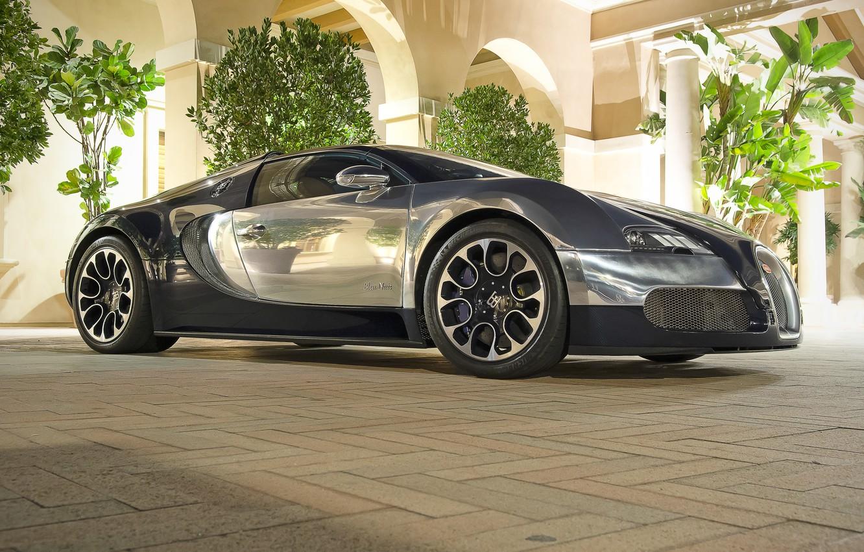 Фото обои Bugatti, Grand, Veyron, Sport, Bleu, Nuit