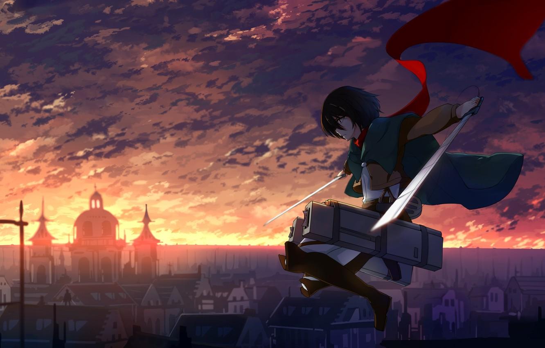 Фото обои небо, девушка, облака, закат, город, дома, аниме, шарф, арт, haraguroi you, shingeki no kyojin, mikasa …