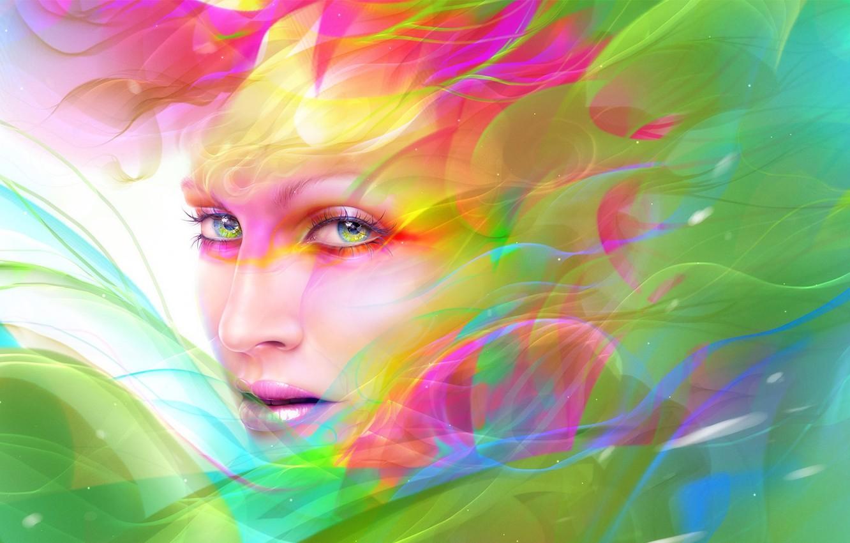 Фото обои взгляд, девушка, абстракция, лицо, краски, макияж, арт, neville dsouza