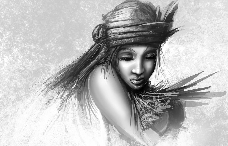 Фото обои девушка, лицо, рисунок, арт, черно-белое, закрытые глаза, монохромное, головной убор
