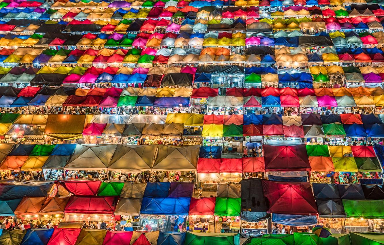 Фото обои Night, Market, Bangkok