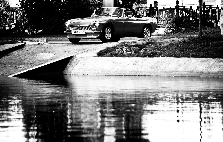 Фото обои черно-белая, Вода, Трава