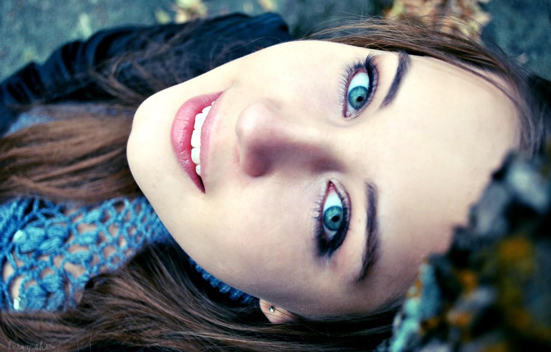 Фото обои глаза, взгляд, девушка, лицо, улыбка, настроение