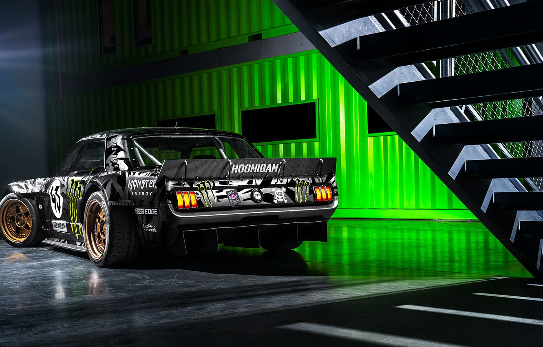 Фото обои Mustang, Ford, Monster, 1965, RTR, Block, Ken, Gymkhana, Energy, Rear, Hoonicorn, SEVEN, 845 hp