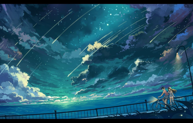 Фото обои небо, девушка, звезды, облака, пейзаж, природа, велосипед, океан, аниме, арт, фонари, парень, haraguroi you