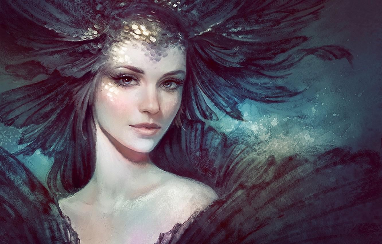 Фото обои взгляд, арт, нарисованная девушка