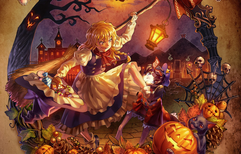 Фото обои девушка, игры, аниме, арт, halloween, touhou, remilia scarlet, alice margatroid, kirisame marisa, shanghai, flandre scarlet, …