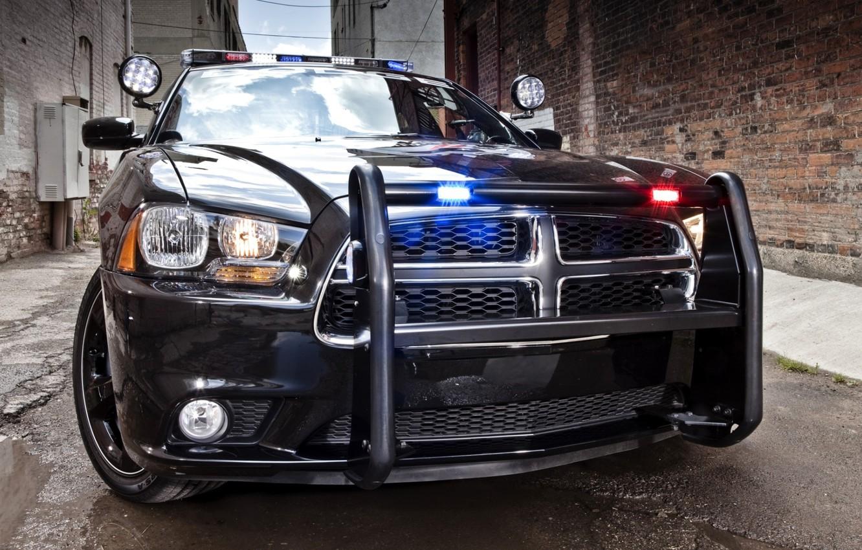 Фото обои полиция, седан, додж, Police, dodge, charger, чарджер, мигалки, кенгурятник, улица.фон, pursuit