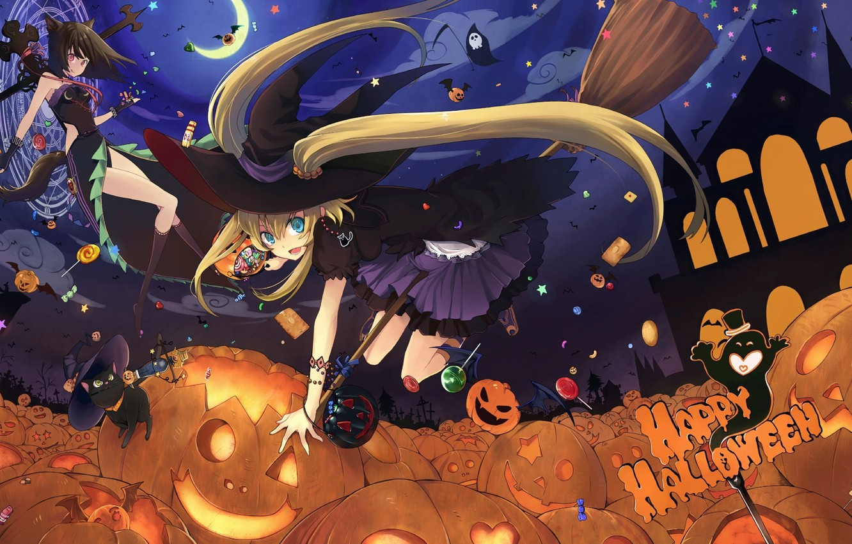 Фото обои девушки, аниме, конфеты, тыквы, halloween, шляпы, ведьмы, метлы