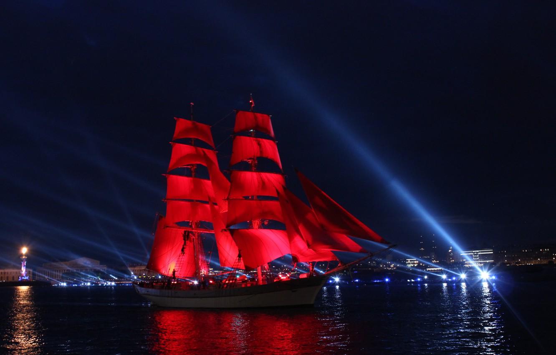 Фото обои Ночь, Корабль, Санкт-Петербург, Алые паруса, Выпускной