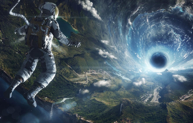 Фото обои полет, земля, вселенная, скафандр, черная дыра, Космонавт
