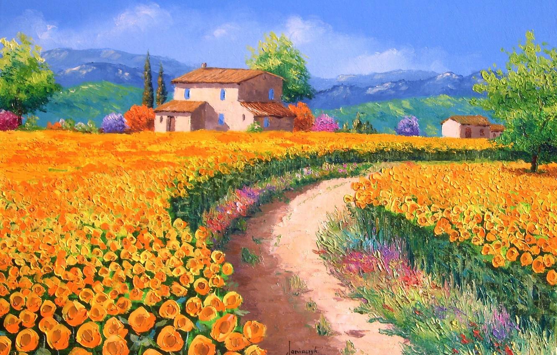 Фото обои дорога, поле, деревья, подсолнухи, пейзаж, цветы, горы, холмы, картина, арт, домики, Jean-Marc Janiaczyk