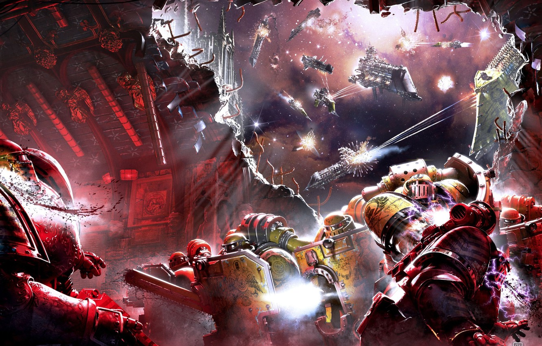Фото обои корабли, Horus Heresy, Warhammer 40000, штурм, космодесант, битва в космосе, Shadows of Treachery, Neil Roberts, …