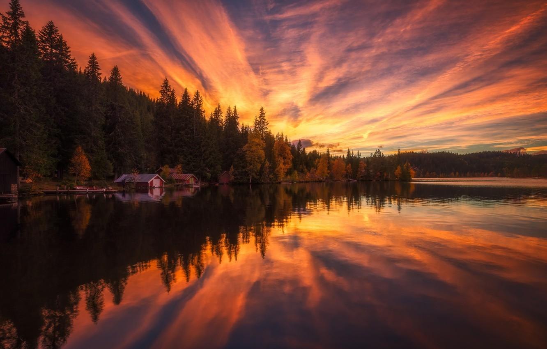 Фото обои небо, вода, деревья, пейзаж, закат, природа, отражение, домики