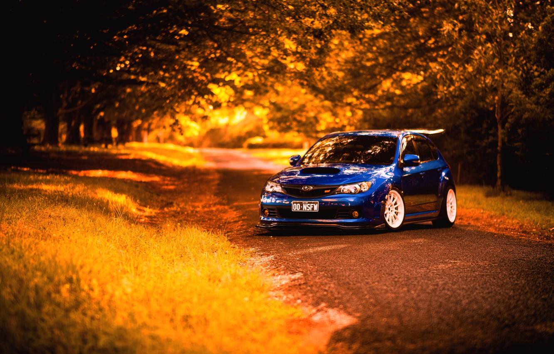 Фото обои осень, Subaru, Impreza, синяя, STI, blue, субару, импреза