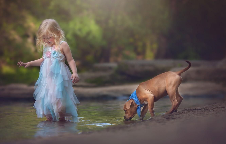 Фото обои ручей, настроение, собака, девочка, щенок, друзья