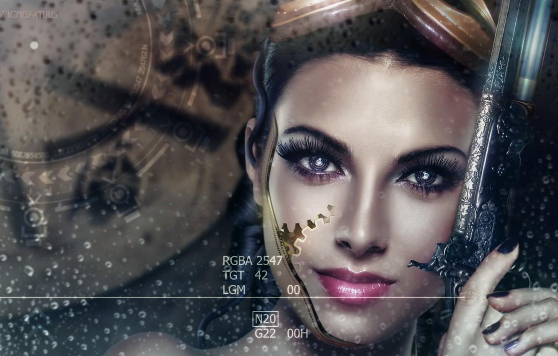 Фото обои девушка, капли, лицо, оружие, дождь, робот, стим панк