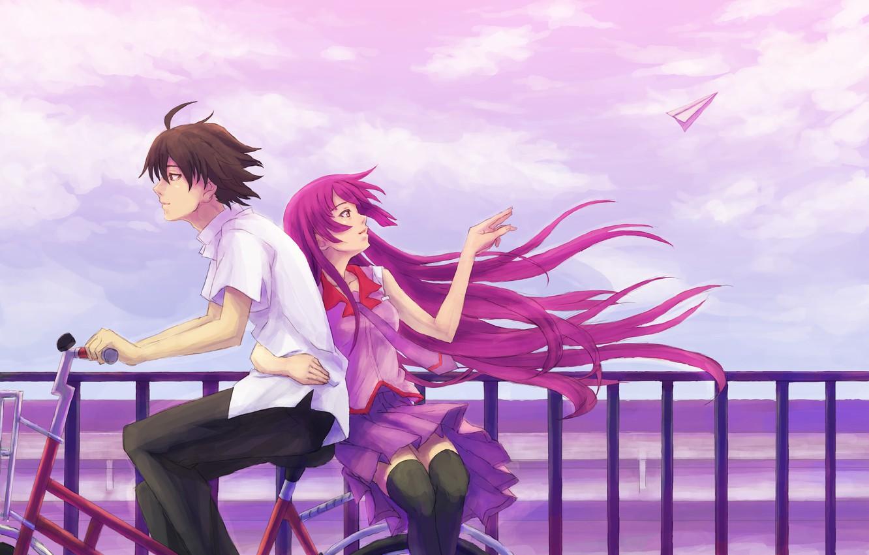 Фото обои небо, девушка, велосипед, ветер, профиль, мужчина, рубашка, длинные волосы, senjougahara hitagi, bakemonogatari, короткие волосы, объятие, …
