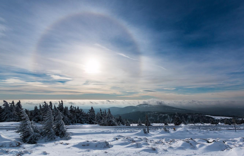 Фото обои зима, небо, снег, сияние, нимб, Гало