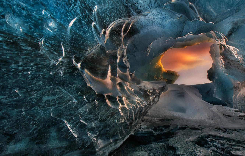 Фото обои ice, iceland, icelandic landscapes, ice cave, Christian Lim, okulsarlon