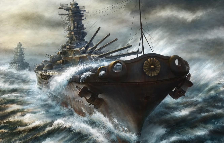 Фото обои море, краски, корабли, буря, пушки, art, линкор, крейсер, kashi takahisa