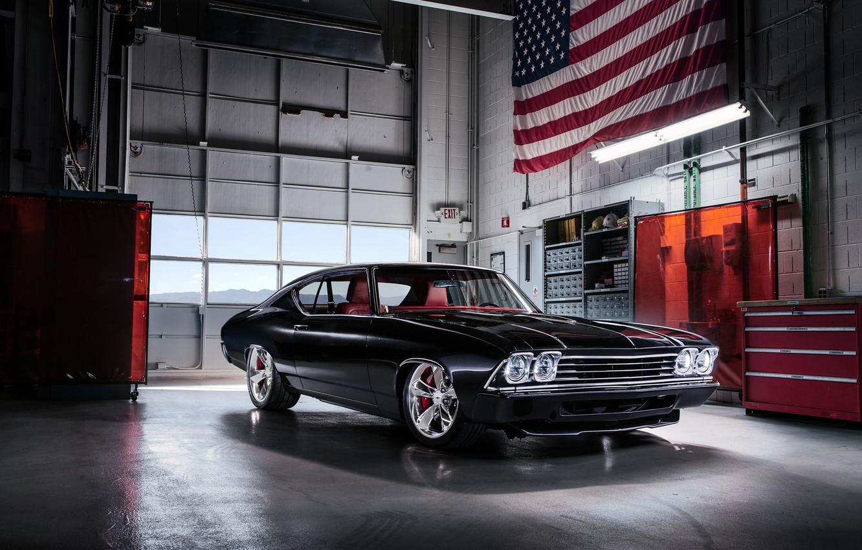 Фото обои Concept, Черный, Chevrolet, Ретро, 1969, Автомобиль, Chevelle Slammer