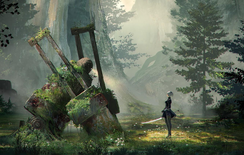 Фото обои девушка, горы, заросли, робот, меч, заброшенность, Nier