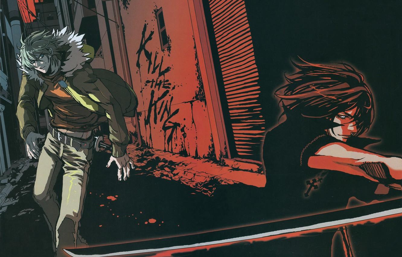 Фото обои ночь, улица, крест, катана, лезвие, двое, поединок, враги, akira, shiki, togainu no chi