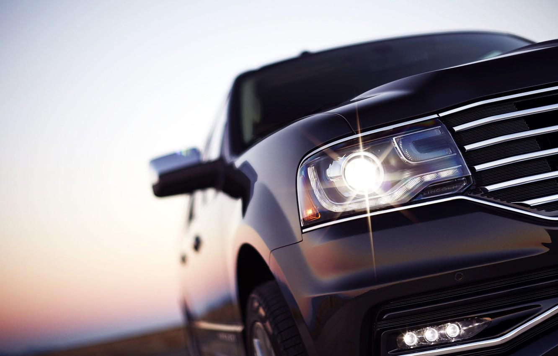 Фото обои Авто, Черный, Фара, Машина, Внедорожник, Отблеск, Lincoln Navigator