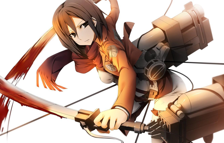 Фото обои взгляд, девушка, полет, оружие, кровь, жест, трос, art, shingeki no kyojin, mikasa ackerman, kamitsurugi ouka