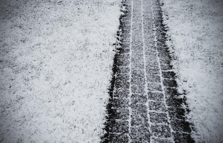 Фото обои зима, снег, след, колеса, протэктор