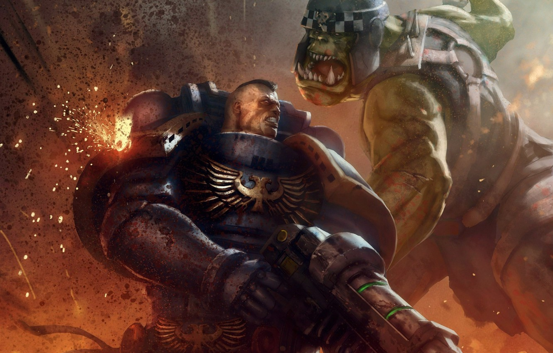 Фото обои фантастика, Warhammer 40000, warhammer, art, space marine, Warhammer 40k, orc, ultramarine