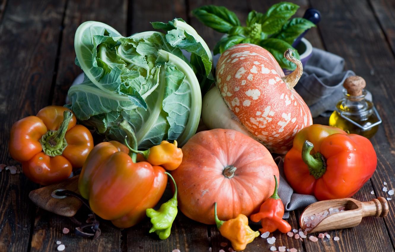 Фото обои тыква, перец, овощи, капуста