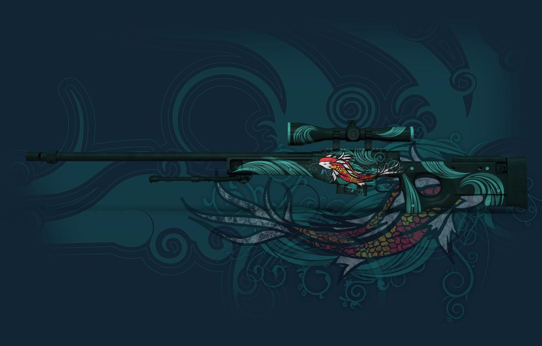 Фото обои круги, отражение, рыба, раскрас, awp, koi, workshop, cs go, custom paint job