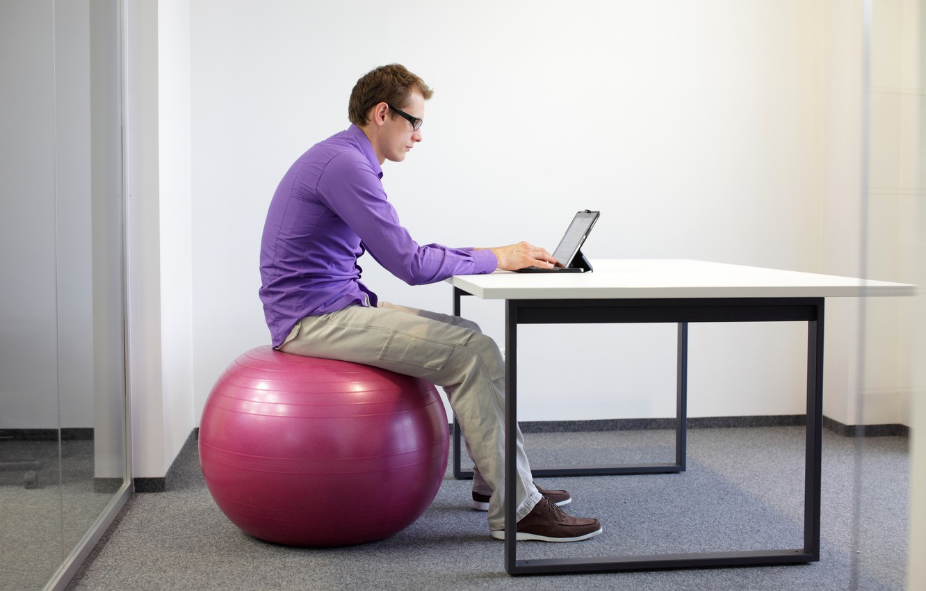 Фото обои notebook, office, working, exercise ball