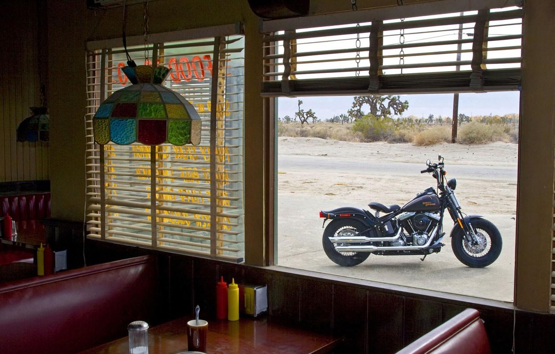 Фото обои Окно, Harley Davidson, Столовая