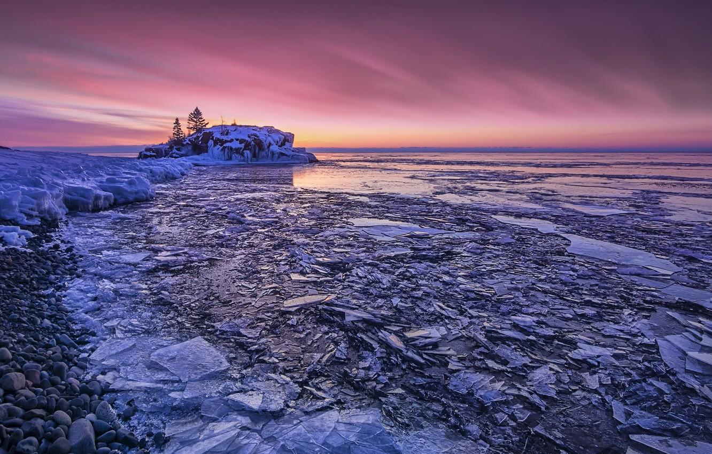Фото обои United States, Minnesota, Cook, sunrise pink