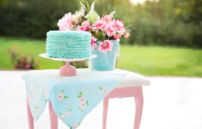 Фото обои цветы, природа, стол, ведро, торт