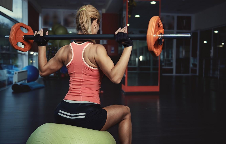Фото обои fitness, gym, training ball, bar weight