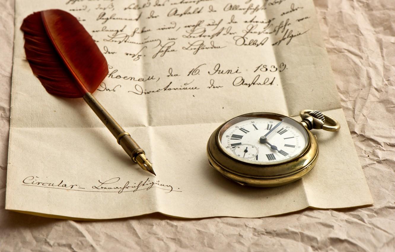 Фото обои письмо, бумага, часы, ручка, чернила, перьевая
