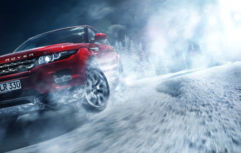 Фото обои Red, Land Rover, Range Rover, Car, Front, Snow, Evoque, Skid