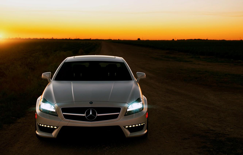Фото обои дорога, закат, Mercedes, CLS63