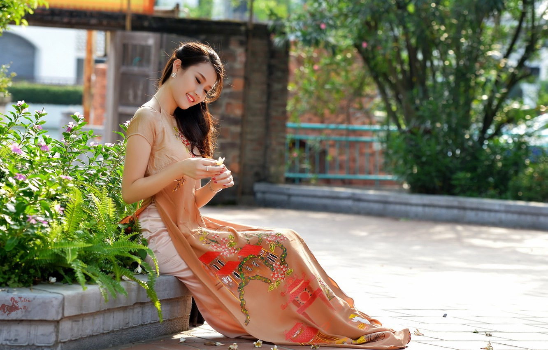 Фото обои лето, девушка, стиль, улица, азиатка