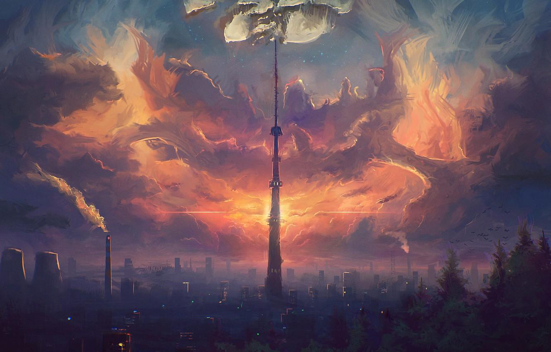 Фото обои небо, облака, город, башня, дома, арт