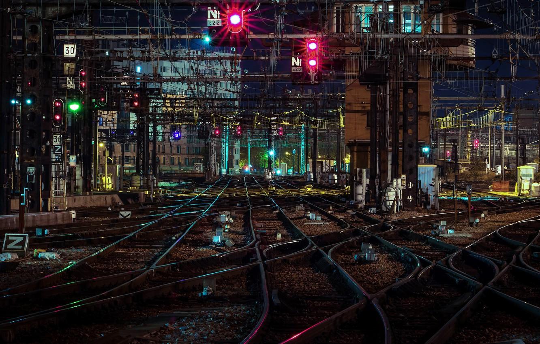 Обои ночь, станция, Железная дорога. Города foto 9