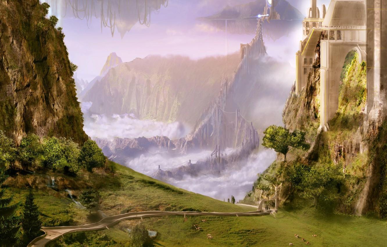 Фото обои зелень, пейзажи, рисунок