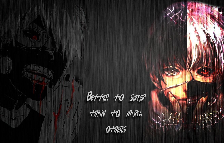 Фото обои металл, кровь, цитата, Tokyo Ghoul, Ken Kaneki