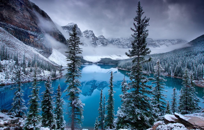 Фото обои лед, снег, горы, озеро, ель, Канада, Canada, Moraine Lake, Valley of the Ten Peaks, Морейн, …